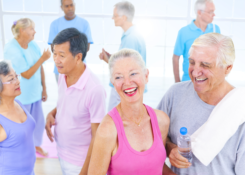 Photo of a group of seniors at an exercise class