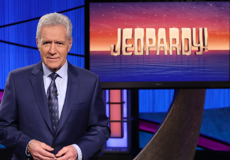 Alex Trebek on the set for the show Jeopardy.