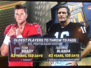 Football players Tom Brady and George Blanda