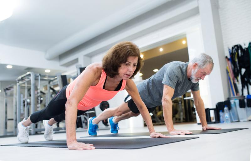 Older Couple doing pushups together
