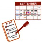 a September calendar, a to-do list with items checked off, and a red pen