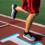 lower body shot of man running